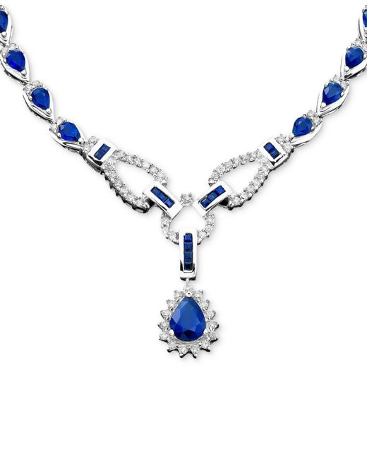 Macy's | Blue Sapphire (12-1/3 Ct. T.w.) And Diamond (1-1/5 Ct. T.w.)toggle Necklace In 14k White Gold (also In Ruby & Emerald) | Lyst