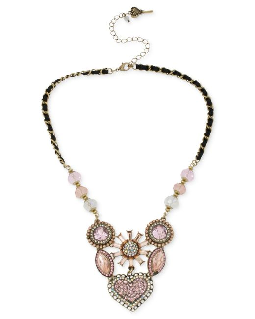 Betsey Johnson   Metallic Gold-tone Crystal Gem Cluster Frontal Necklace   Lyst