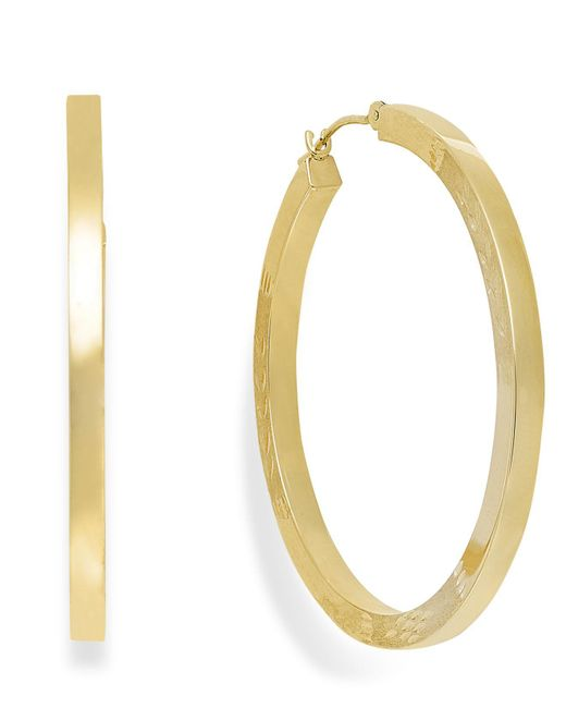 Macy's | Metallic High-polish Hoop Earrings In 10k Gold | Lyst