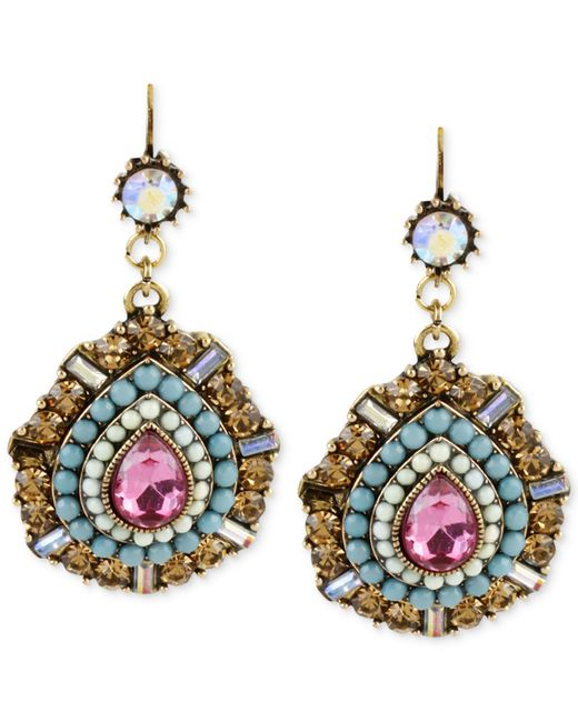 Betsey Johnson - Metallic Gold-tone Multi-color Crystal Teardrop Earrings - Lyst