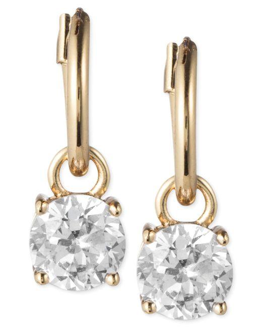Anne Klein | Metallic Gold-tone Crystal Drop Hoop Earrings | Lyst