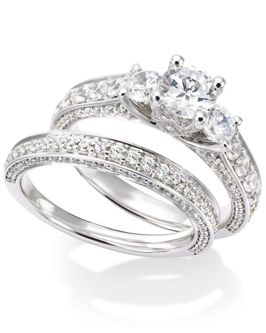 Macy s Certified Diamond Three stone Engagement Ring Bridal Set In 14k Wh