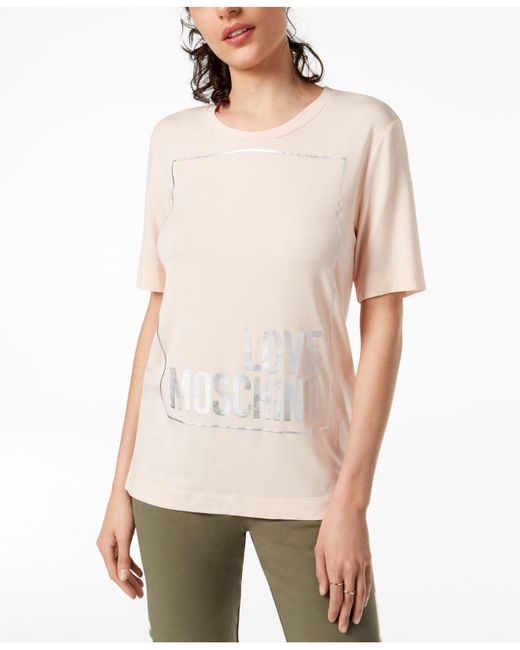 Love Moschino - Pink Love Logo Top - Lyst