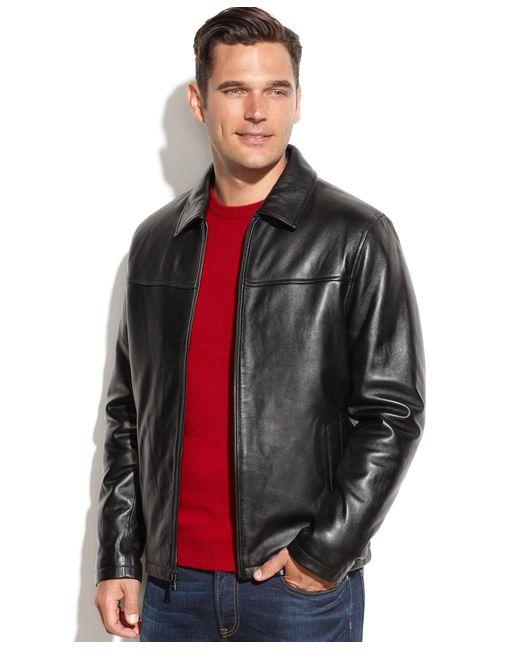 Izod | Black Leather Bomber Jacket for Men | Lyst