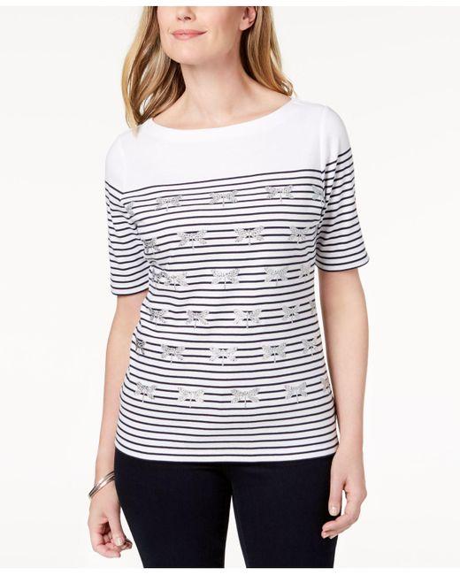 Karen Scott - Blue Embellished Striped T-shirt, Created For Macy's - Lyst