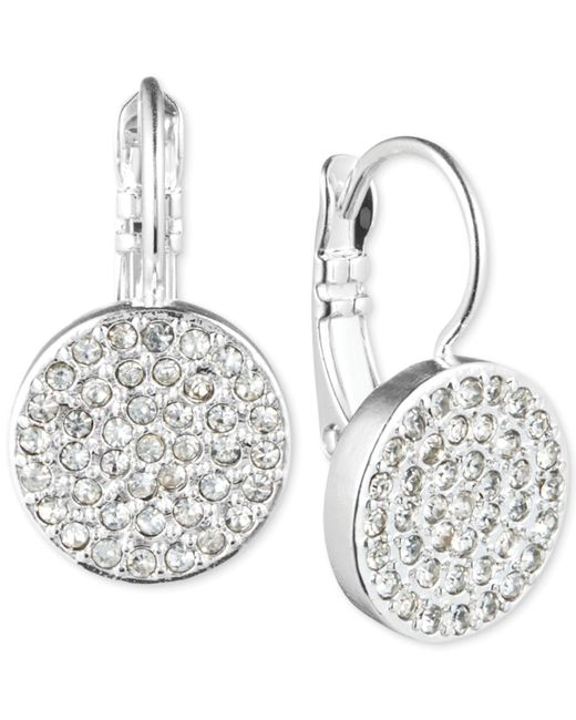 Anne Klein | Metallic Crystal Pavé Disc Drop Earrings | Lyst