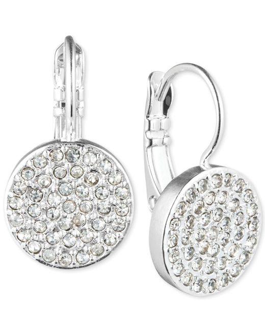 Anne Klein | Metallic Crystal Pave Disc Drop Earrings | Lyst