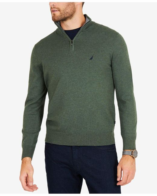 Nautica - Green Big & Tall Colorblocked Quarter-zip Pullover for Men - Lyst