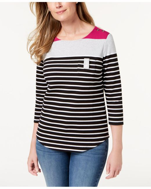 Karen Scott - Black Colorblocked Button-shoulder Top, Created For Macy's - Lyst