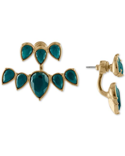 RACHEL Rachel Roy - Green Gold-tone Colored Stone Jacket Earrings - Lyst