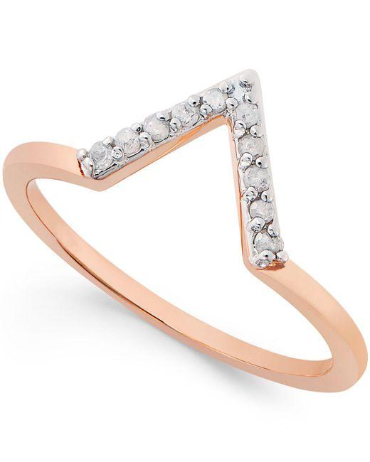Macy's | Metallic Diamond V Ring (1/10 Ct. T.w.) In Sterling Silver | Lyst