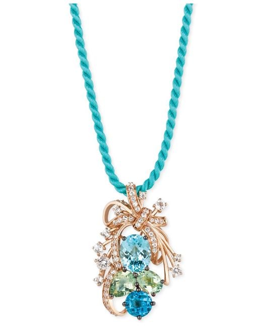Le Vian | Crazies Collection Blue Topaz, Green Quartz And White Topaz Cluster Pendant Necklace In 14k Rose Gold (10-1/5 Ct. T.w.) | Lyst