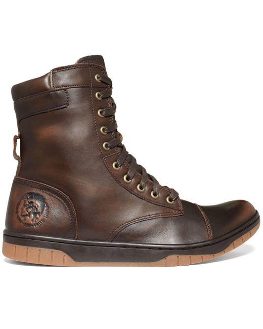 Diesel Tatradium Basket Butch Zip Boots In Brown For Men