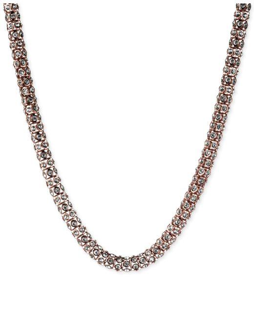 Anne Klein   Pink Rose Gold-tone Pavé Tubular Collar Necklace   Lyst
