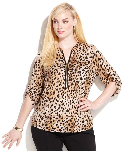 Calvin Klein | Multicolor Plus Size Animal-print Zipper-neck Top | Lyst