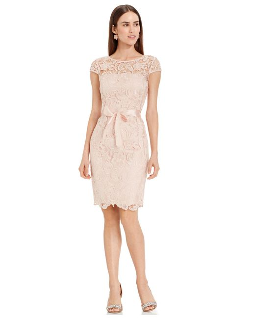 Adrianna Papell   Pink Lace Cap-sleeve Illusion Sheath Dress   Lyst