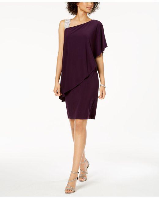 571518f69118f R   M Richards - Purple One-shoulder Rhinestone-embellished Dress - Lyst ...