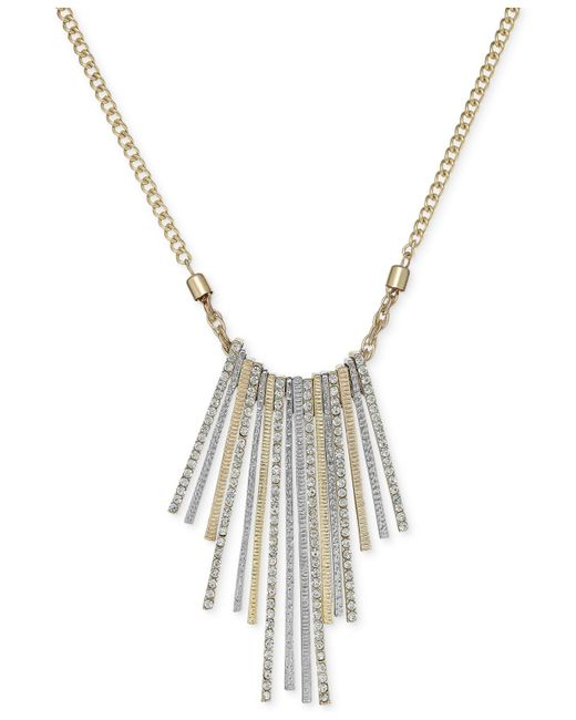 INC International Concepts | Gold-tone Metallic Stick Crystal Pavé Frontal Necklace | Lyst