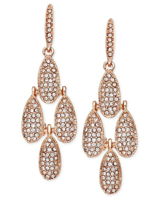 INC International Concepts | Pink Rose Gold-tone Crystal Pave Small Teardrop Chandelier Earrings | Lyst