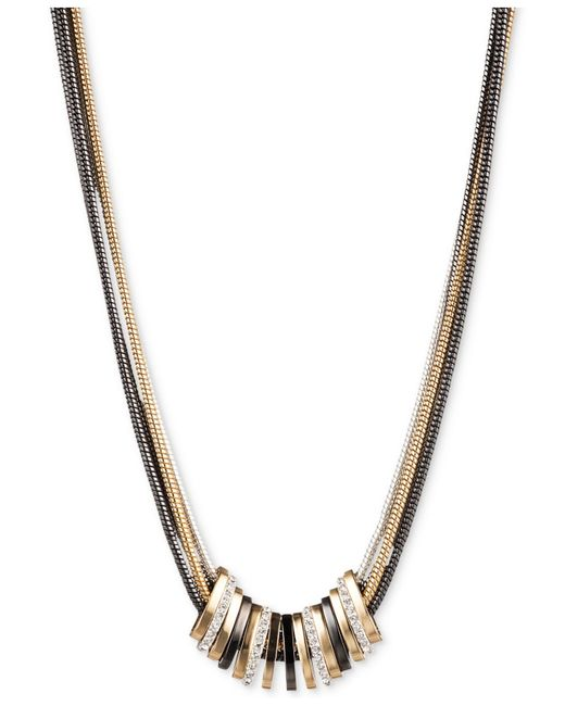 Nine West | Metallic Tri-tone Crystal Large Slider Necklace | Lyst