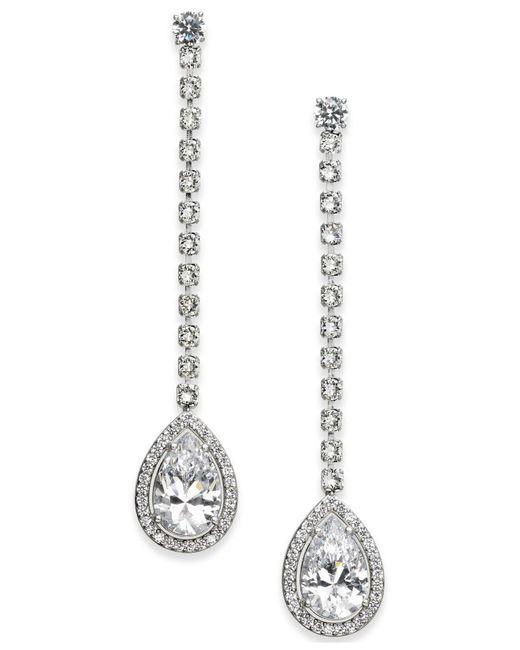 Danori - Metallic Silver-tone Teardrop Crystal Linear Drop Earrings - Lyst