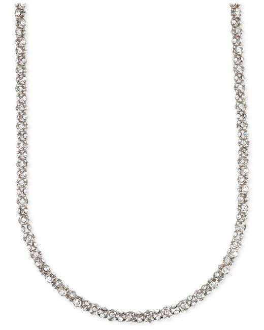 Anne Klein | Metallic Silvertone Chain And Stone Accented Necklace | Lyst
