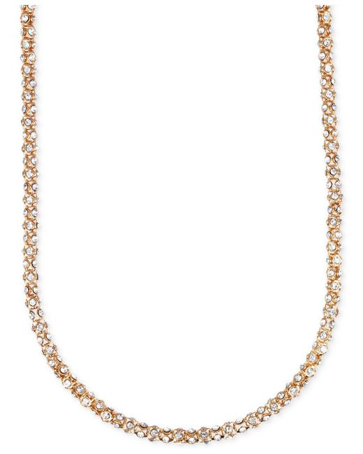 Anne Klein | Metallic Gold-tone Crystal Pave Tubular Strand Necklace | Lyst