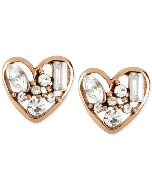 Betsey Johnson | Metallic Rose Gold-tone Crystal Heart Stud Earrings | Lyst
