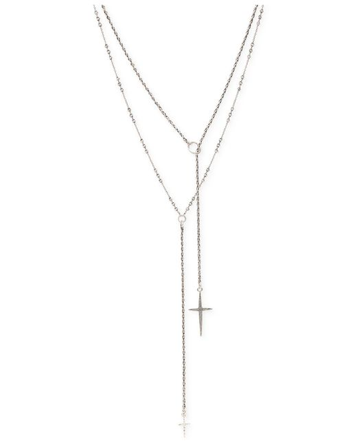 Lucky Brand | Metallic Silver-tone Double Cross Necklace | Lyst