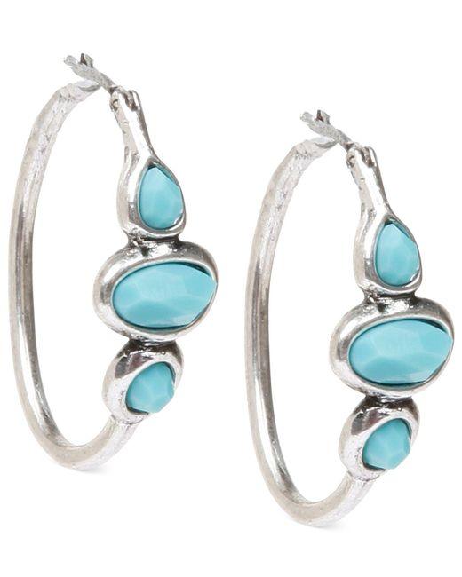 Lucky Brand   Metallic Silver-tone Turquoise Hoops Earrings   Lyst