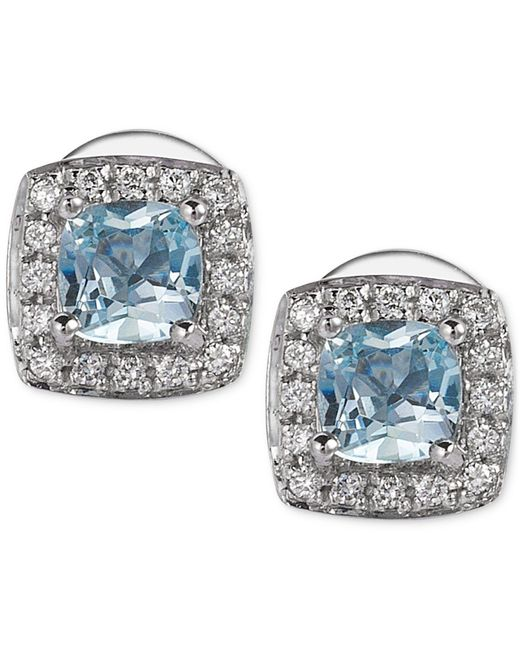 Le Vian - Multicolor Aquamarine (3/8 Ct. T.w.) And Diamond (1/10 Ct. T.w.) Stud Earrings In 14k White Gold - Lyst