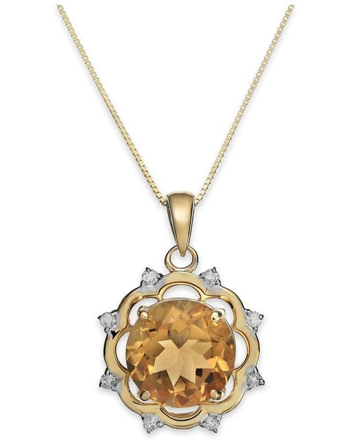 Macy's | Metallic Citrine (3-1/2 Ct. T.w.) And Diamond (1/8 Ct. T.w.) Pendant Necklace In 14k Gold | Lyst