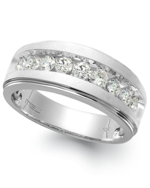 Macy's Men's Nine-stone Diamond Ring In 10k White Gold (1