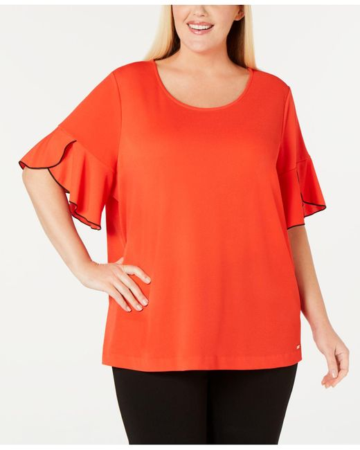 Calvin Klein Red Plus Size Piping-trim Flutter-sleeve Top