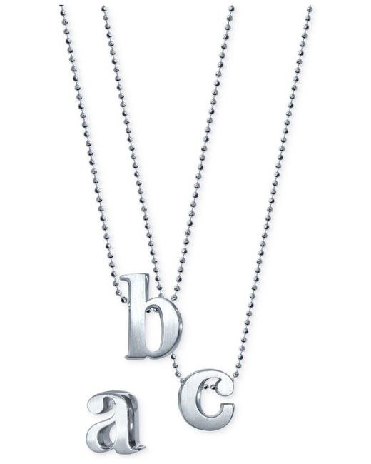 Alex Woo | Metallic Initial Pendant Necklace In Sterling Silver | Lyst