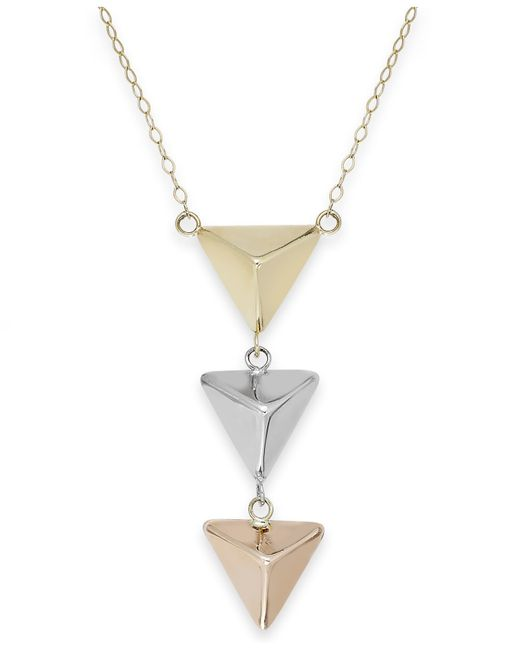 Macy's | Metallic Tri-tone Pyramid Triple Drop Pendant Necklace In 14k Gold | Lyst