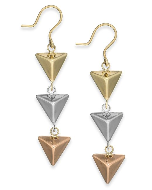 Macy's | Metallic Tri-tone Pyramid Triple Drop Earrings In 14k Gold | Lyst