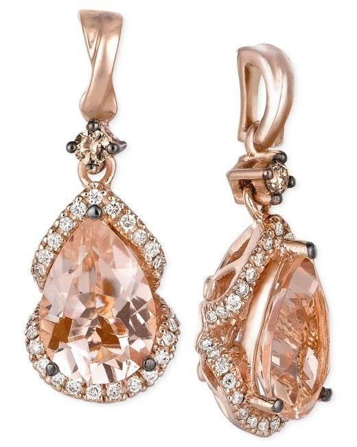 Le Vian | Pink Peach Morganite (2-3/8 Ct. T.w.) And Diamond (1/3 Ct. T.w.) Drop Earrings In 14k Rose Gold, Only At Macy's | Lyst