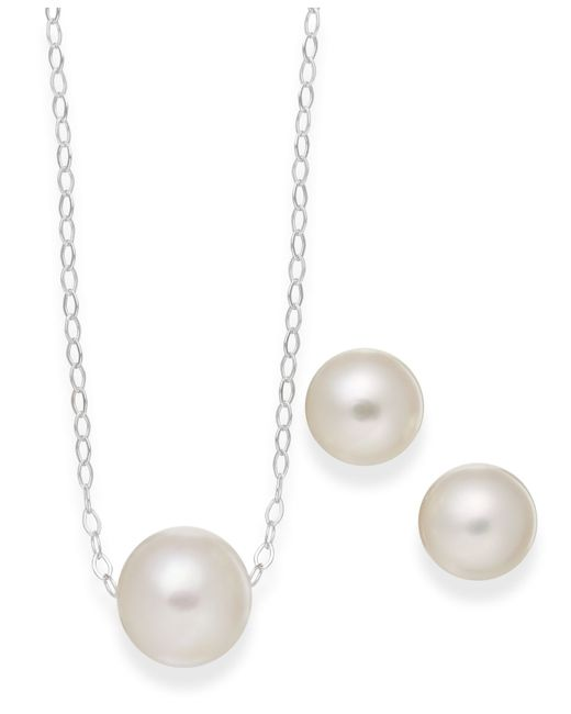 Macy's   White Cultured Freshwater Pearl Classic Jewelry Set In Sterling Silver (8-10mm)   Lyst