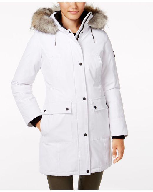 Calvin Klein   White Faux-fur-trim Water-resistant Parka   Lyst