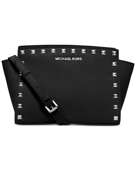 Michael Kors | Black Selma Stud Medium Messenger | Lyst