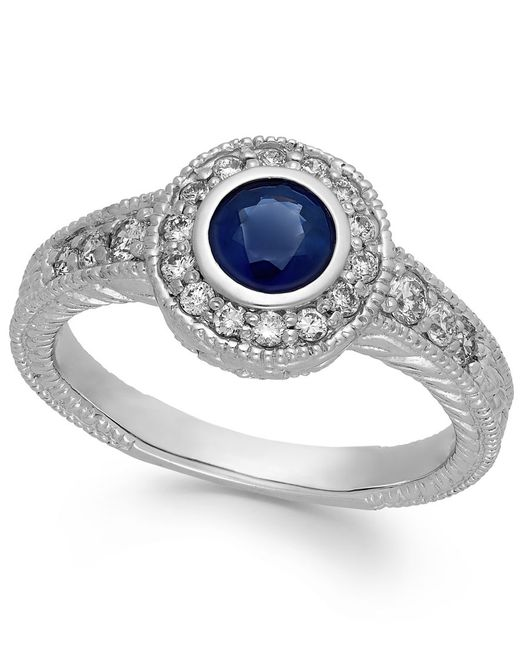 Macy's | Blue Sapphire (5/8 Ct. T.w.) And Diamond (1/3 Ct. T.w.) Round Ring In 14k White Gold | Lyst