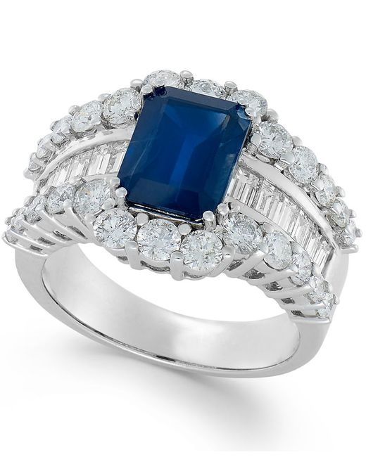 Macy's | Blue Sapphire (3-5/8 Ct. T.w.) And Diamond (2 Ct. T.w.) Ring In 14k White Gold | Lyst