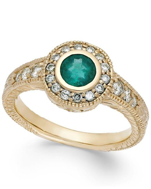 Macy's   Metallic Emerald (1/2 Ct. T.w.) And Diamond (1/3 Ct. T.w.) Round Ring In 14k Gold   Lyst
