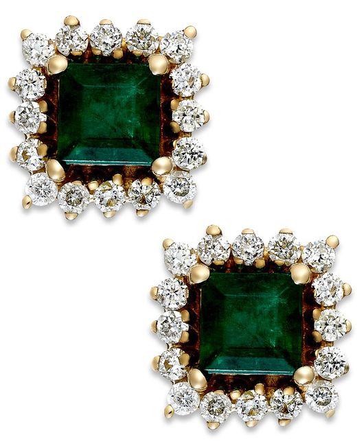 Macy's   Green Emerald (5/8 Ct. T.w.) And Diamond (1/3 Ct. T.w.) Stud Earrings In 14k Gold   Lyst