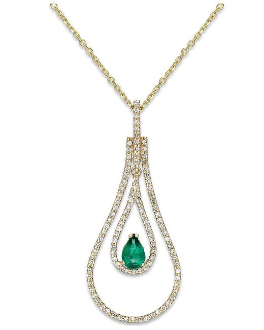 Macy's | Metallic Emerald (3/8 Ct. T.w.) And Diamond (3/8 Ct. T.w.) Pendant Necklace In 14k Gold | Lyst