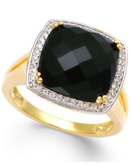 Macy's | Black Faceted Onyx (4-1/2 Ct. T.w.) And Diamond (1/5 Ct. T.w.) Ring In 14k Gold | Lyst
