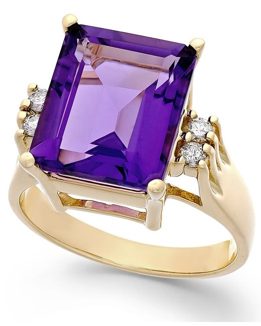 Macy's | Purple Amethyst (6 Ct. T.w.) And Diamond (1/8 Ct. T.w.) Ring In 14k Gold | Lyst