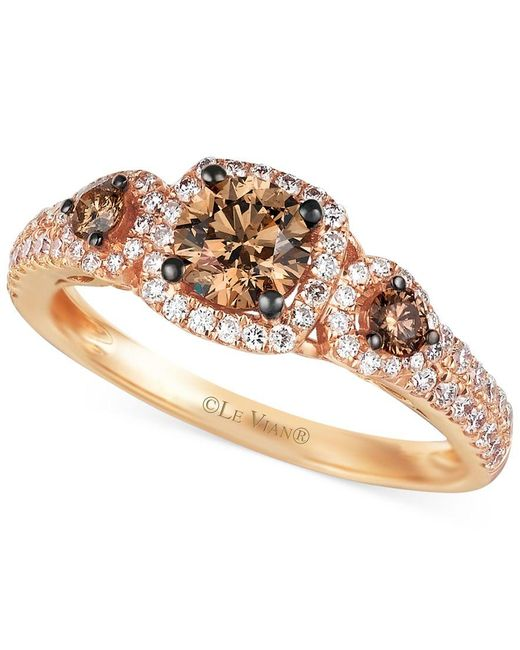 Le Vian | Pink Chocolate And White Diamond Three-stone Ring In 14k Rose Gold (1 Ct. T.w.) | Lyst
