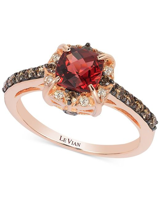 Le Vian | Metallic Chocolate By Petite Garnet (1-1/6 Ct. T.w.) And Chocolate Diamond (3/8 Ct. T.w.) Ring In 14k Rose Gold | Lyst